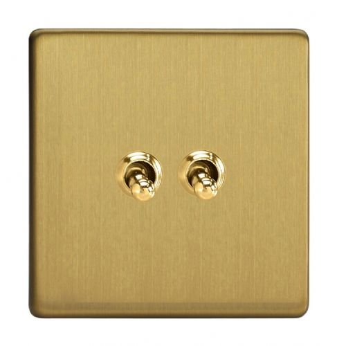Varilight XDBT2S Screwless Brushed Brass 2 Gang 10A 1 or 2 Way Toggle Light Switch